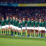 The Springboks lineup for the national anthem