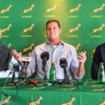 Rugby stakeholders Barend van Graan, Rassie Erasmus and Eugene Henning (Photo by Grant Pitcher/Gallo Images)