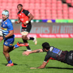 Edwill van deer Merwe of the Stormers challenged by EW Viljoen of the Lions during the 2021 Rainbow Cup SA match between Lions and Stormers at Ellis Park Stadium in Johannesburg on the 15 May 2021 ©Muzi Ntombela/BackpagePix