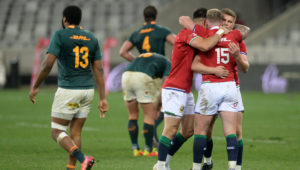 BI Lions players celebrate victory at the final whistle during the 2021 British and Irish Lions Tour first test between South Africa and BI Lions at Cape Town Stadium on 24 July 2021 ©Ryan Wilkisky/BackpagePix
