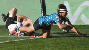 JOHANNESBURG, SOUTH AFRICA - JULY 21: Eduan Keyter of the Griquas scores during the Carling Currie Cup match between Sigma Lions and Tafel Lager Griquas at Emirates Airline Park on July 21, 2021 in Johannesburg, South Africa.